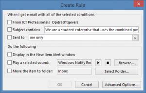 Outlook regels scherm